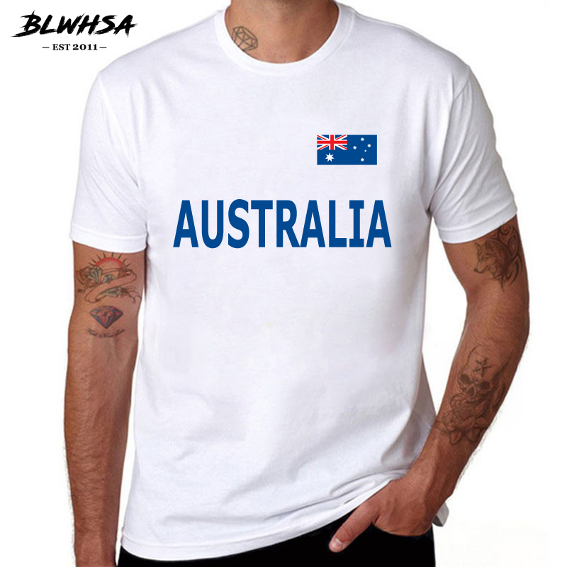 BLWHSA Summer T-Shirt Men 100% Pure Cotton Short Sleeve Australia Printed Fashion Casual Tops Brand Clothing