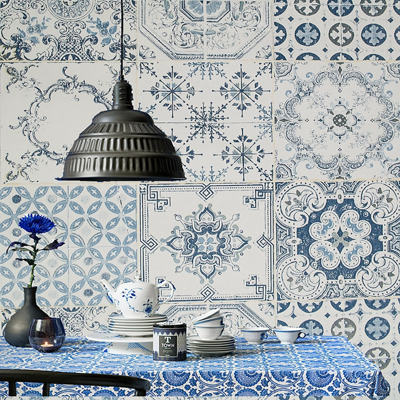 Bohemian Imitation Tiles Wallpaper Roll Modern Personality Living Room Bedroom Clothing Shop Background Wall Paper For Walls 3 D wallpaper for walls 3 d modern trdimensional geometry 4d tv background wall paper roll silver gray wallpapers for living room