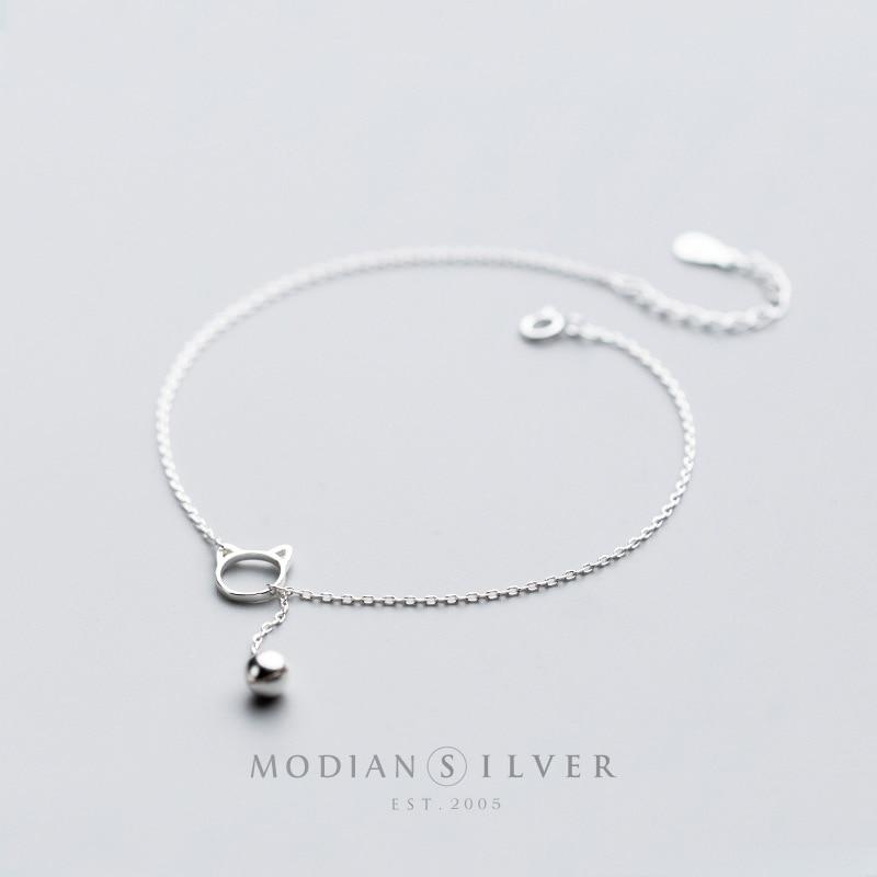 Modian Trendy New Sale Chain Link Cat Lucky Bell Bracelet Tiny Cute 100% 925 Sterling Silver Bracelets For Women S925 Jewelry