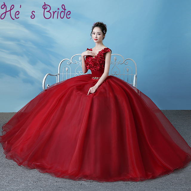 21d7dd6eea6 Evening Dress Elegant Wine Red V Neck Sleeveless Lac E Up Back Ball Gown  Satin Lace Sashes Flowers Sequines Party Prom Dress