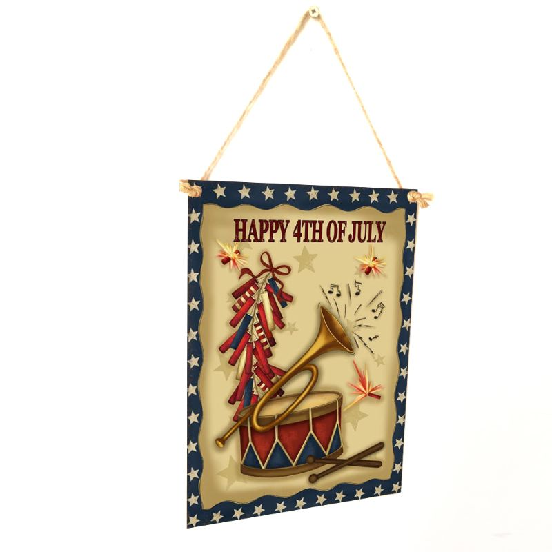 Image 3 - Rustic Wooden Happy Happy 4th Of July Sign Plaque Independence Day Room Home Decor Collection Gift-in Plaques & Signs from Home & Garden