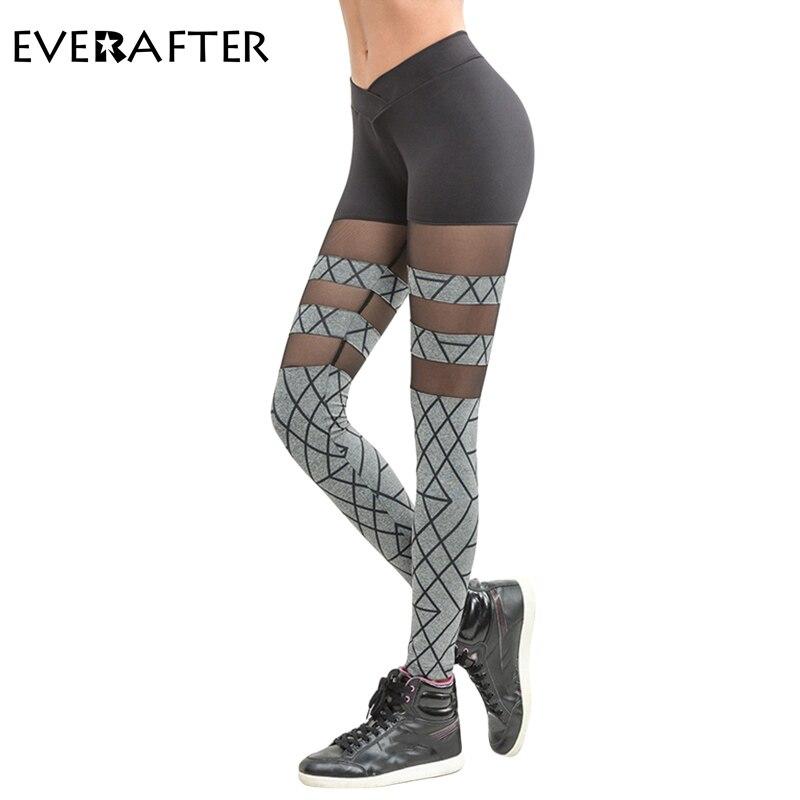 EVERAFTER Women workout   leggings   Fitness Women Pants Breathable   Leggings   women splice printing mesh slim Spring Summer new 2018