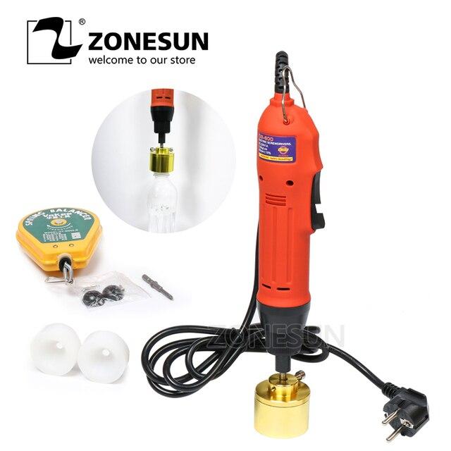 ZONESUN ידני מכונה מכסת חשמל בורג כובע בורג Capper פלסטיק עשן שמן בקבוק מכסת מכונה Capper (10- 30 MM)