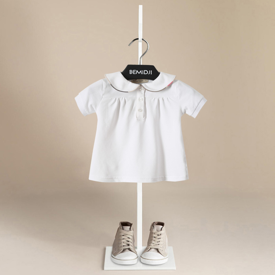 Children Top Girls 2018 Spring Kids Tops Peter Pan Collar Short Sleeve Cotton White Kids Tee Shirts Casual Style For Age 1-6T