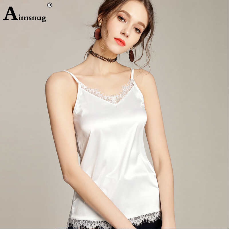 Aimsnug White Sexy Solid V-Strap Back Lace Trim Slim Fit Cami Top  Summer Casual Women Vest Tops Ladies V Neck Camis