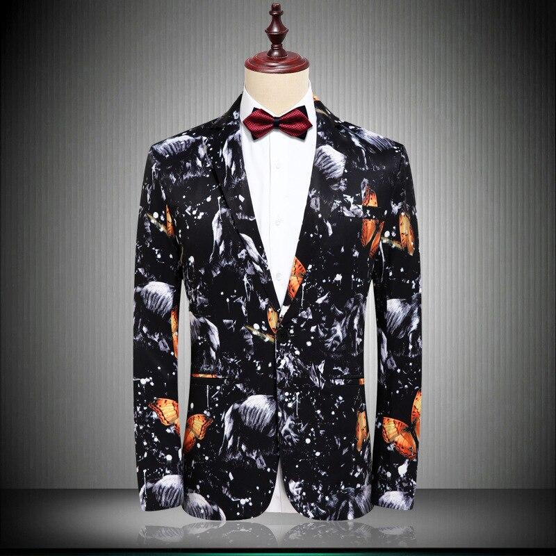 Mens Slim Fit Single Breasted Blazer Jacket Brand 3D Floral Print Wedding Prom Suit Blazer Men Stage Singer Perform Costumes 4XL