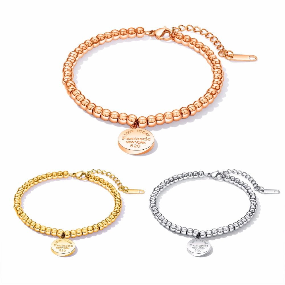 FATE LOVE Women Bead Chain Heart charm Bracelet Fashion Jewelry stainless steel Silver Rose gold color GS928