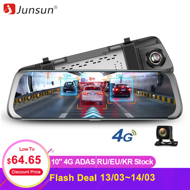 "Junsun 4G ADAS Car DVR Camera 10""Android Stream Media Rear View Mirror FHD 1080P WiFi GPS Dash Cam Registrar Video Recorder DVRs"