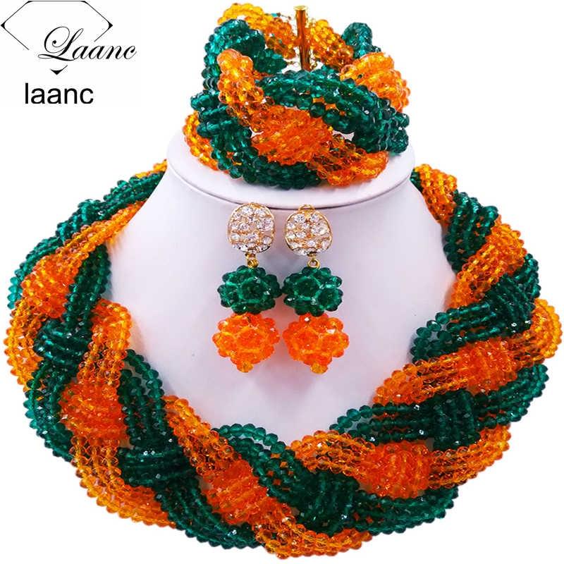 12 rangées classique armée vert Orange cristal tresse perles Costume africain bijoux ensemble nigérian collier de mariage 12BZ010