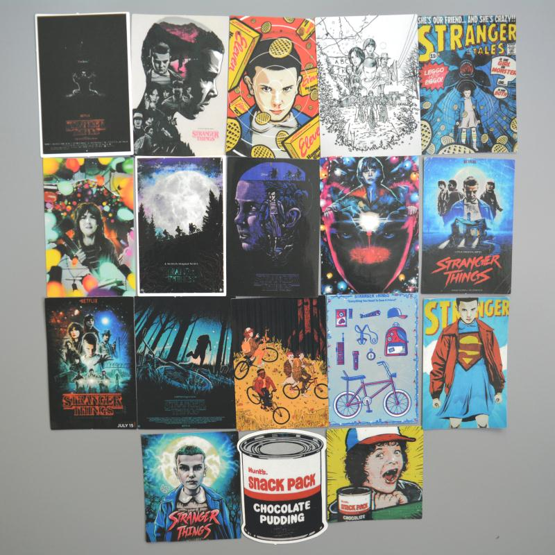 18pcs/Lot Stranger Things Cartoon Graffiti Stickers For Laptop Sticker Decal Fridge Skateboard PVC Stickers For Travel Suitcas