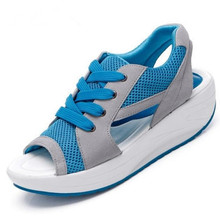 YeddaMavis Women Mesh Sandals Shoes New 2019 Summer Fashion Womens Casual Ladies Lace Up Wedge Blue