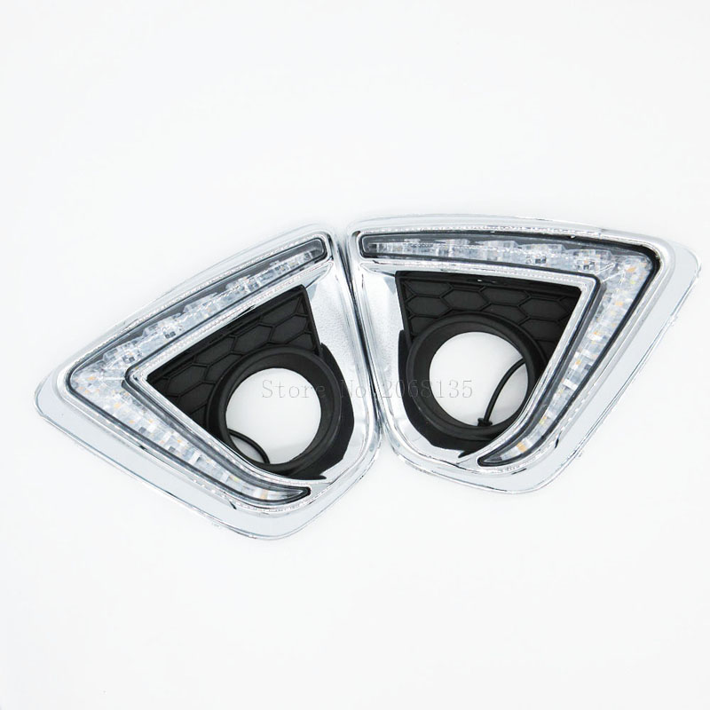 NEW 12V Car DRL Daytime Running <font><b>Lights</b></font> <font><b>Fog</b></font> Lamp <font><b>Cover</b></font> for <font><b>MAZDA</b></font> CX-5 <font><b>CX5</b></font> CX 5 2012-2016 White yellow turning to image