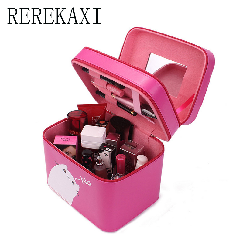 REREKAXI Designer Beauty Makeup case Cartoon cute cat Organizer lady Makeup Bag PU Waterproof large Capacity Cosmetic Box