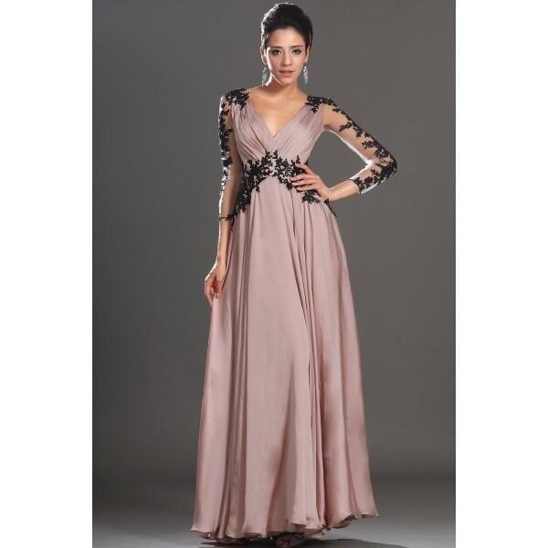 V-Neck Open Back Black Bridesmaid Dress Lace Chiffon With Long Sleeves Dress
