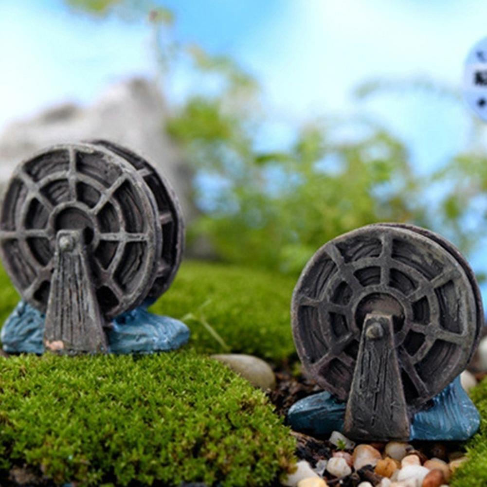 2 Pcs Mini Waterwheel Decor Waterwheel Micro Landscape Bonsai Succulent Plants Fish Tank DIY Decor