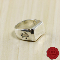 100% 925 sterling silver ring personality retro fashion hip hop styling glossy domineering jewelry men's 2018 new hot sale