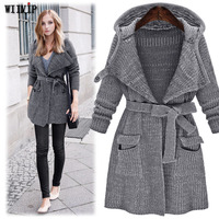 New Woman Fashion Full Sleeve Turn Down Collar With Hooded Spring Winter Casual Sweater Coat Autumn Sashes Knit Cardigans 9231