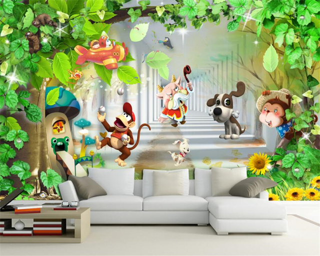 Custom 3D Wallpaper Kids Room Background Decorative Mural Monkey Dog Cartoon Animals Wallpapers For Living