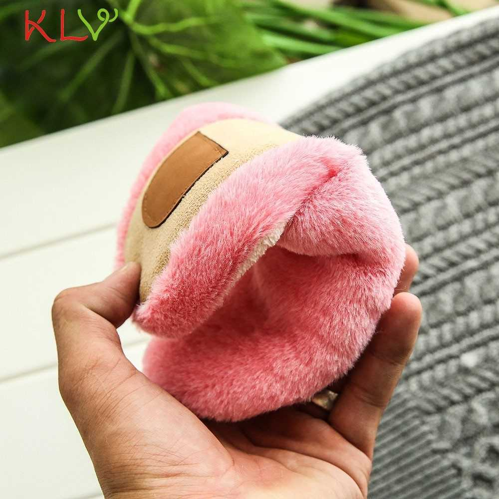 Chinelos mulheres 2018 Sapatos casa interior Chinelos de algodão de pelúcia macia bonito não-deslizamento Sapatos piso Chinelos peludos para quarto 18Dec4