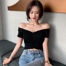 купить Women Ruched Fashion V Neck Short Sleeve T Shirt Summer Solid Color Knitted Sexy Slim Crop Top Women Korean Casual T-Shirt онлайн