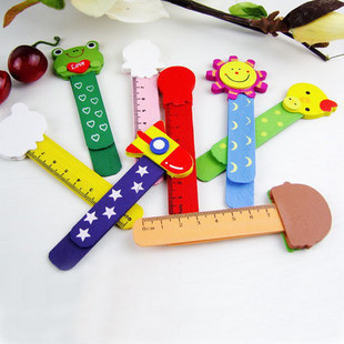 5pcs/lot Multi-function Wooden Cartoon Ruler For Kids As Bookmarks