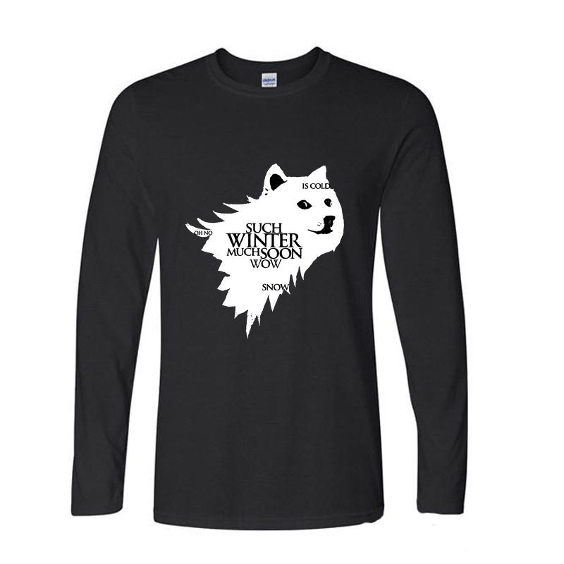 2017 Hot High Quality Cotton THE CUTE DOG DOGE SUCH WORKOUT MUCH BURN game of thrones funny long sleeve t shirt men