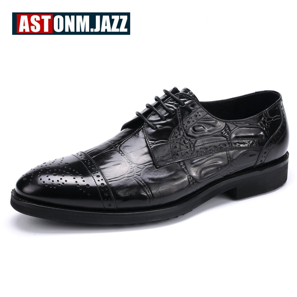 Men's Casual Genuine Leather Crocodile Oxfords Shoes Wedding Shoes For Mens Brogues Shoes Gentleman Business Shoes Flat Heel New top quality crocodile grain black oxfords mens dress shoes genuine leather business shoes mens formal wedding shoes