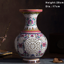 Luxury Chinese-style Palace Restoring Ancient Ways Jingdezhen Pierced White Ceramic Vase For Artificial Flower Decoration Vases