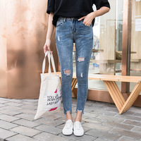Hole Ripped Jeans Women Boyfriend Denim Vintage High Elastic Waist Casual Pants Female Slim Pencil Pants Plus Size