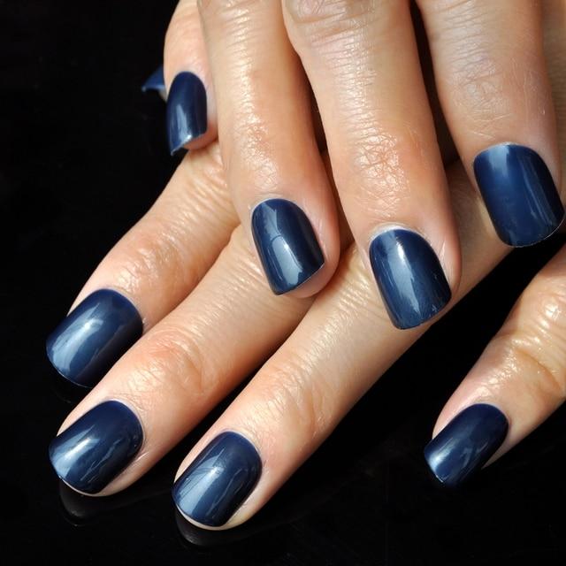 couleur de sucrerie court faux ongles bleu fonc artificielle nail brillant gr ce style nail. Black Bedroom Furniture Sets. Home Design Ideas