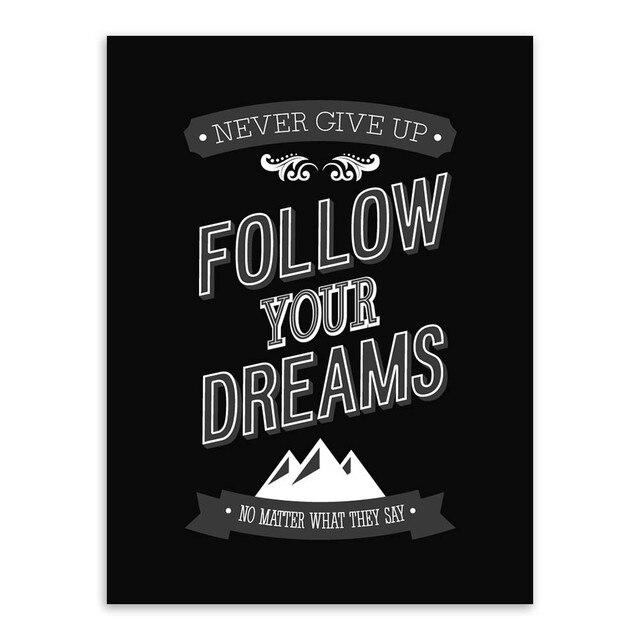 Minimaliste noir blanc de motivation r ve citation affiche for Art minimaliste citation
