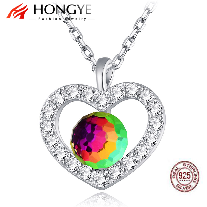 HONGYE Romantic 925 Sterling Silver Colorful Crystal Hollow Love Heart Shiny Zircon Genuine Pendants Necklaces Women Bijoux image