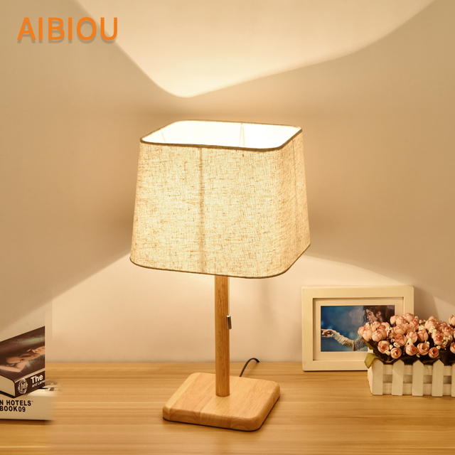 AIBIOU Wooden LED Table Lamps With Cloth Lampshade For Living Room Reading Bedside Lighting Wood Desk Lights