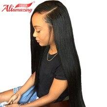 Али удивительные волосы бесклеевая кружевная человеческие волосы парики с волосами младенца 250% плотность предварительно сорванные перуанские прямые волосы фронта шнурка remy Волосы