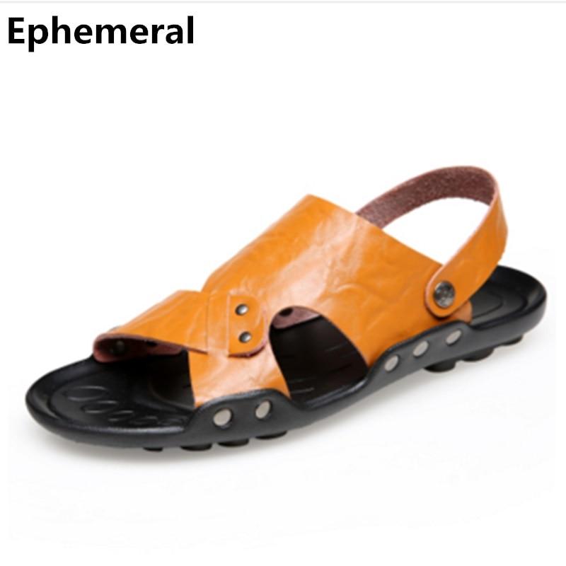 2018 ny ankomst mode flip-flops sommar strand män dela läder skor spänne sandaler och slipper öppen tå plus storlek 17 svart