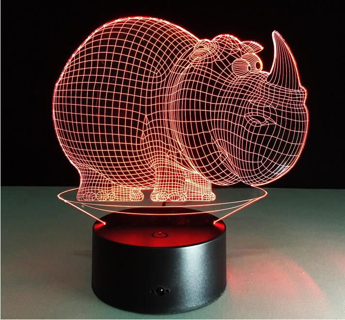 Creative Small LED Table Lamp 3D Animal Rhinoceros Baby Night Light Gradient LED Lighting Figurine Toys Luminaria Bedroom Decor