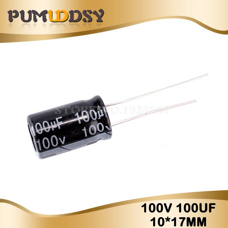 20PCS Higt Quality 100V100UF 10*17mm 100V 100UF 10*17 Electrolytic Capacitor