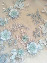 Fresh 3D Pearl Beaded Applique Flower Lace Fabric for Prom Dress, Haute Couture by Yard