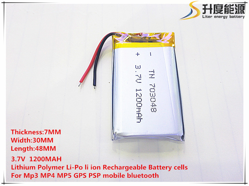 703048 3.7V 1200mAh 703050 Lithium Polymer Li-Po li ion Rechargeable Battery cells For Mp3 MP4 MP5 GPS mobile bluetooth703048 3.7V 1200mAh 703050 Lithium Polymer Li-Po li ion Rechargeable Battery cells For Mp3 MP4 MP5 GPS mobile bluetooth