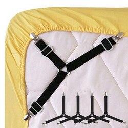 4 pces/1 pces preto/branco ajustável triângulo cama folha fixadores para panos de mesa sofá cobre