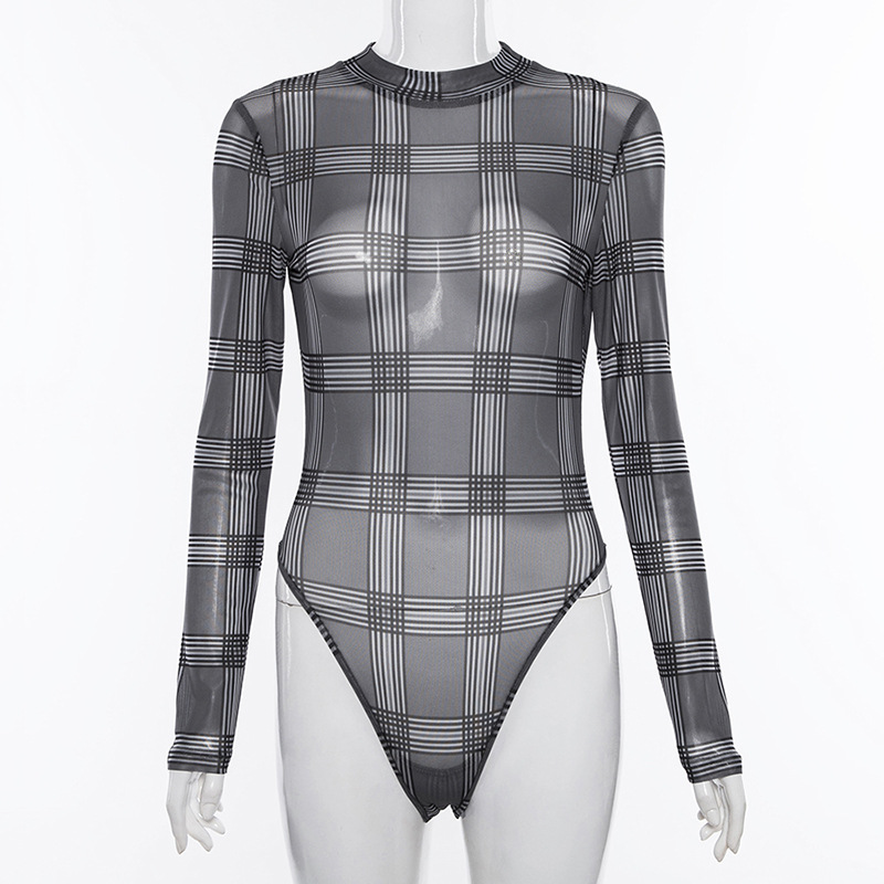 women spring summer 2019 long sleeve checkered bodysuit transparent rompers  womens jumpsuit casual one piece overalls P2704-in Bodysuits from Women s  ... 3b5460e82
