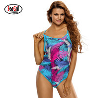 Sea Girl Sexy Female Swimwear Women Blue Pink Palm Leaves Strappy Back One Piece Swimsuit LC410065