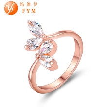 Top Quality Womens Wedding Ring AAA Cubic Zircon Crystal Leaves Luxury Rings Rose Gold Color Plant Trendy Jewelry for Party Hot brand new womens luxury special rings romantic rose gold color fashion style ring with aaa cubic zircon stone for wedding