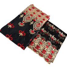 black red gold embroidery wax beading African diy fabric 2019 new arrival guinea brocade nigerian gele headtie 5+2yards/lot