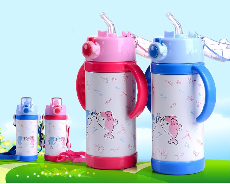 280360ml cartoon Vacuum stainless steel water bottle cup Baby Thermos Mugs Child Thermal Drink Travel Cups leakproof HJ38 (3)