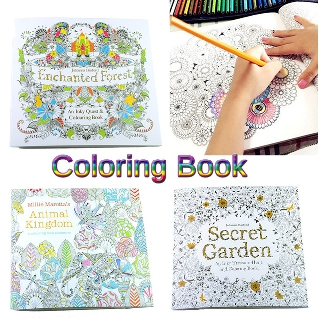 24 Pages 1816cm English Newest Children Adult Secret Garden An Inky Treasure Hunt Coloring