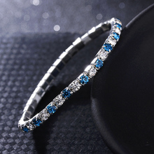 Hot 1PC Simple Crystal Bangle 2018 New Women Girls Shining  Colorful Rhinestones Elastic Bracelet