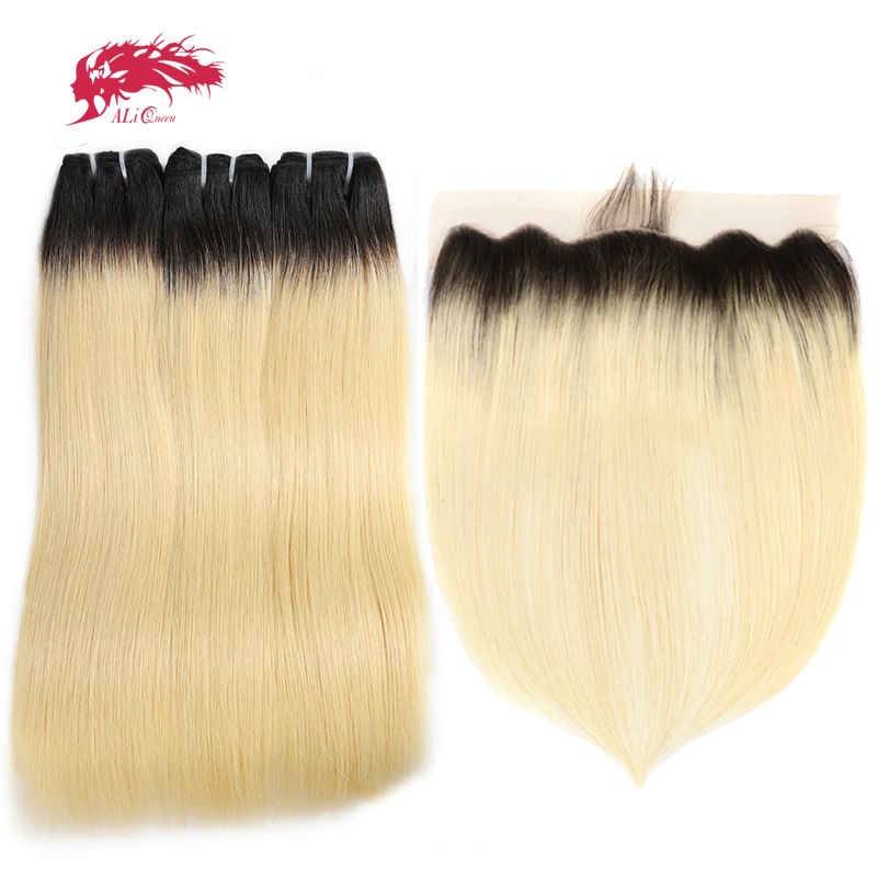 Ombre Bundle With Frontal Closure 1B/613 Honey Blonde Brazilian Straight Virgin Human Hair Free Part 13x4 Swiss Lace Pre-Plucked