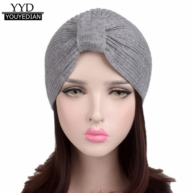 5b9aba3bf7cba0 2017 Fashion Beanies Women Ladies Solid Winter Knitting Hat Turban Brim Hat  Pile Cap Muslim Hat For Woman Sombrero Mujer *1121