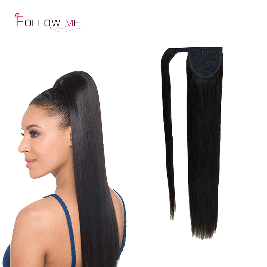 #1 Black Clip in Ponytails Human Hair 100g Real Remy Human Hair Ponytail Extensions Brazilian Wrap Around Ponytail 120g
